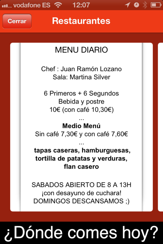 Pizarra de promoción de restaurante en EATapp.es