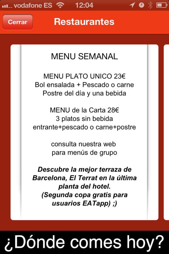 Pizarra digital para restaurante de EATapp.es