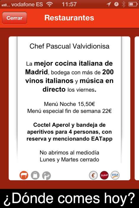 Pizarra virtual de promoción de menú de restaurante en EATapp