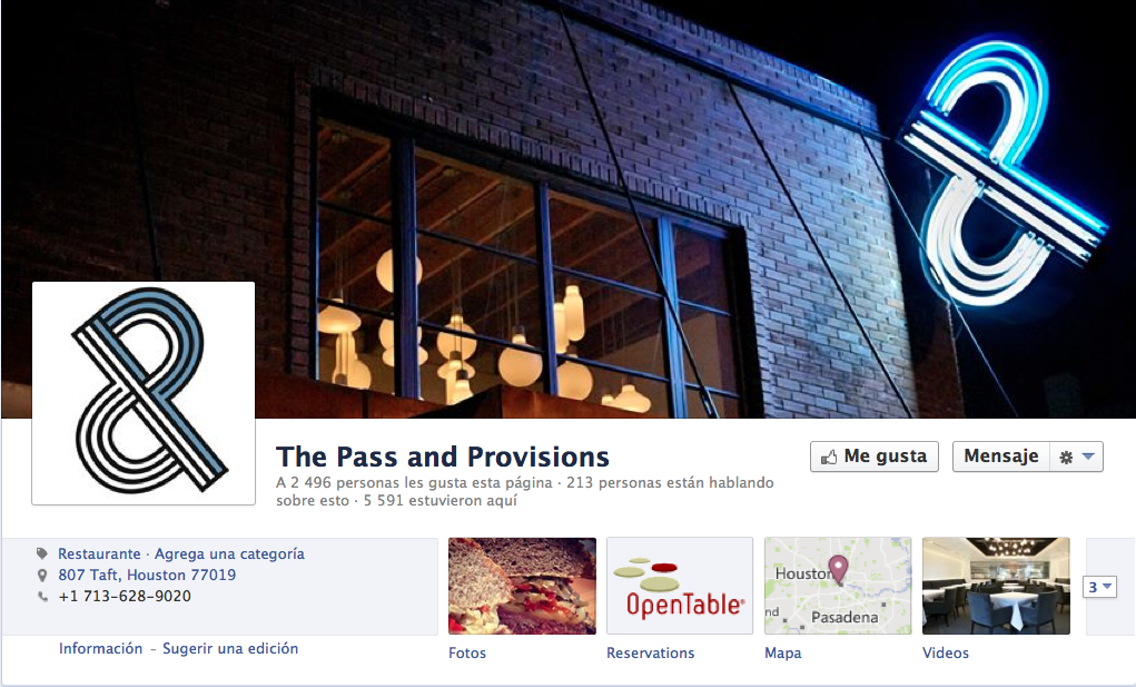 The Pass & Provisions, Huston. Facebook