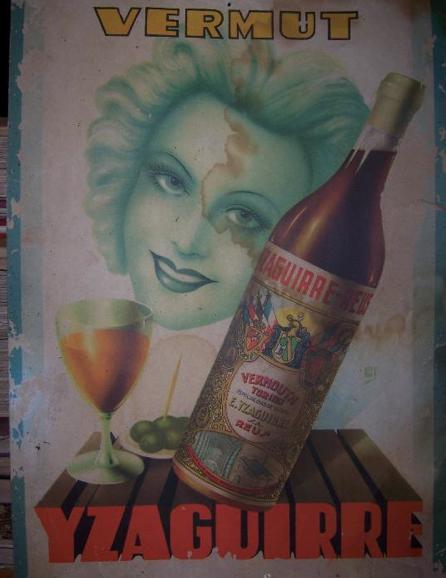 Vermut de Reus, cartel publicitario de VERMUT- YZAGUIRRE de Reus, foto de todocoleccion.net