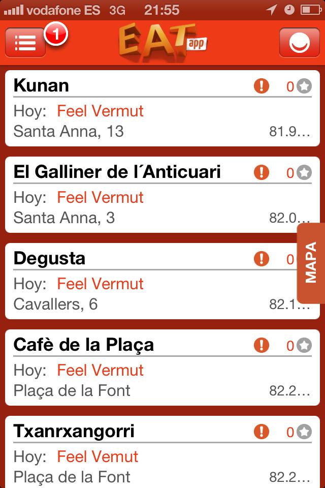 Feel Vermut de Tarragona, en la aplicación EATapp