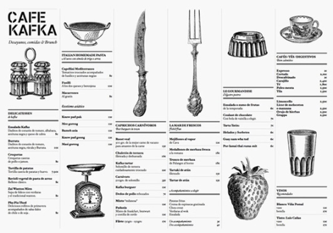 Cartas de Menú para Restaurantes. Cafe Kafka