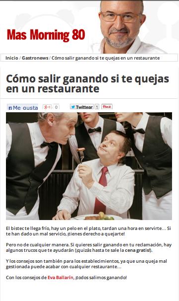 Reclamaciones en restaurantes